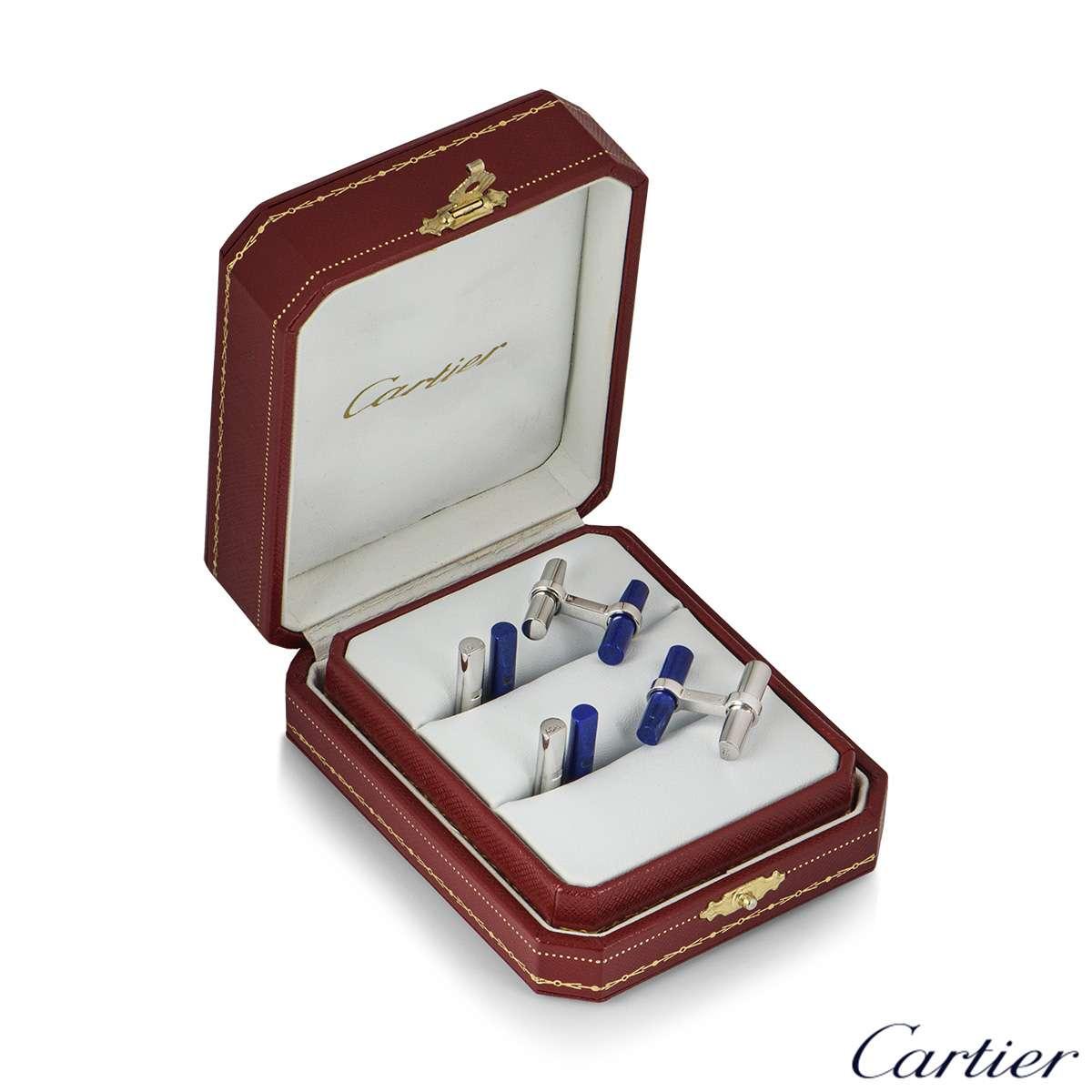 Cartier White Gold, Steel and Lapis Lazuli Cufflinks